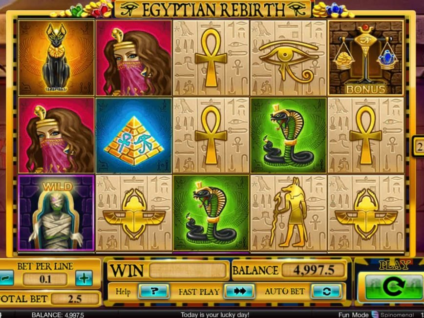 Online casino game Egyptian Rebirth for fun