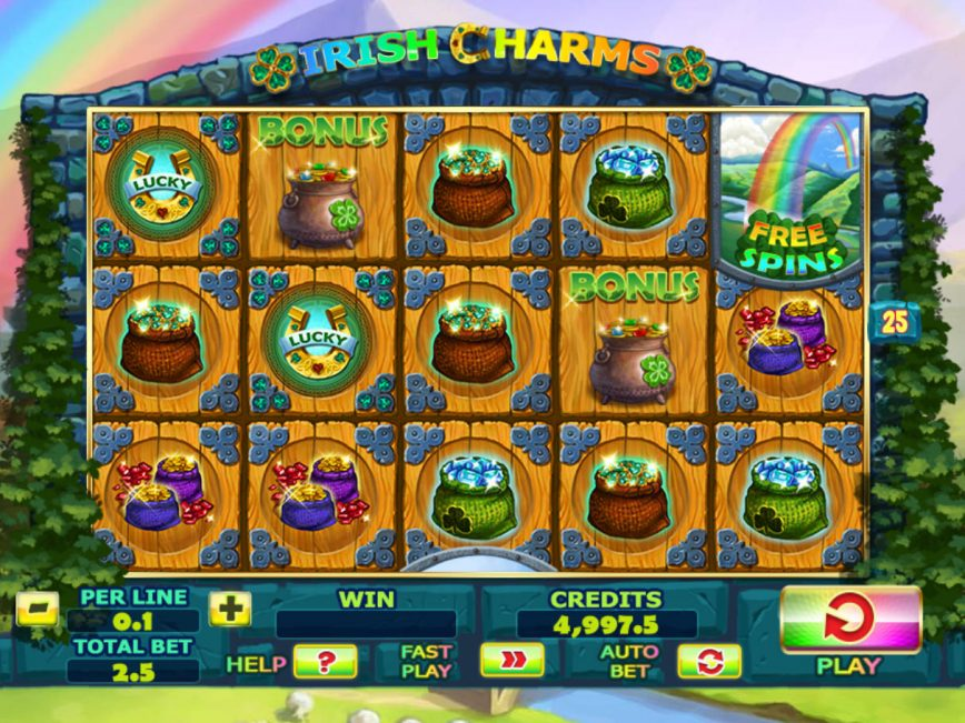 Spin free online slot Irish Charms