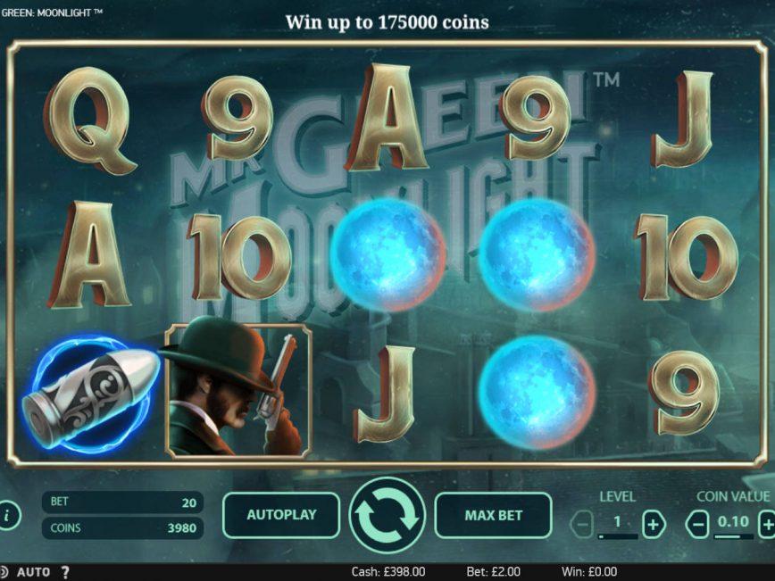 Play casino slot game Mr Green: Moonlight