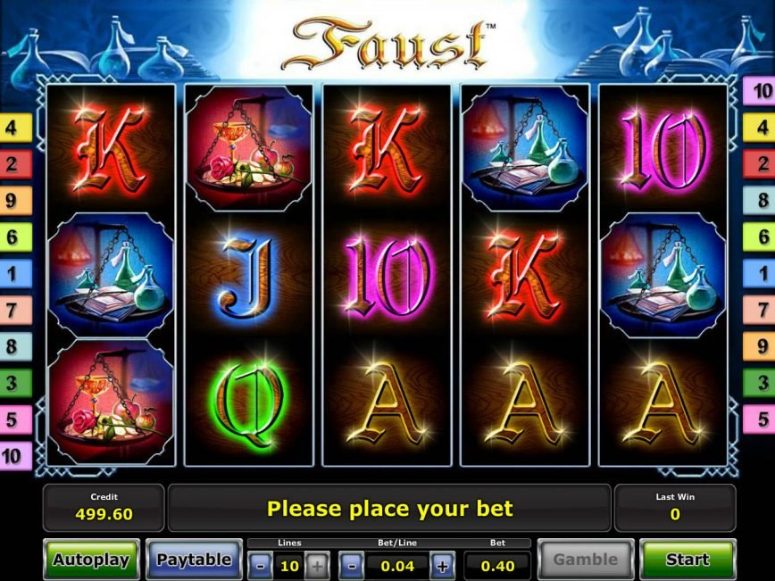 Spin slot machine Faust online
