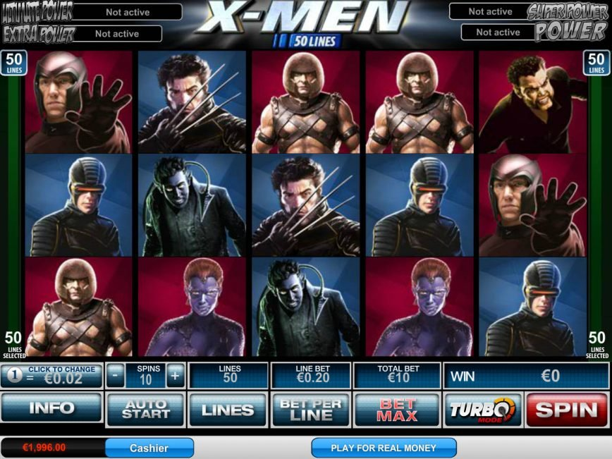 Picture from online slot machine X-Men 50 Lines