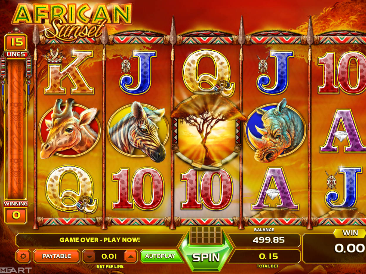 Win african sunset gameart slot machine free disney