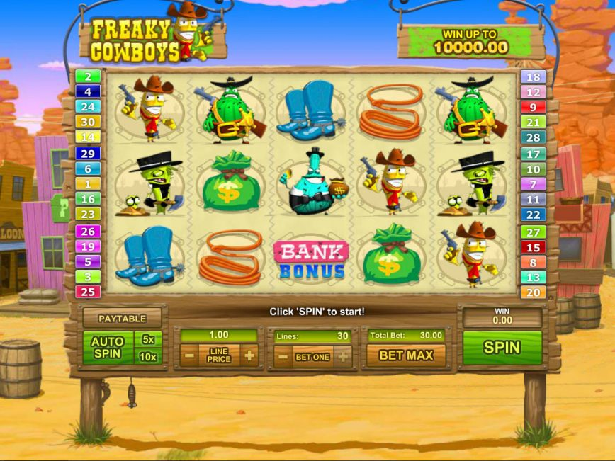 Online casino slot machine Freaky Cowboys