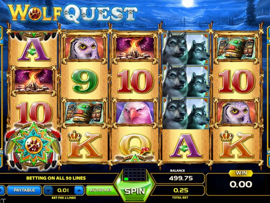 Spin free casino game Wolf Quest online