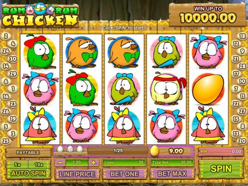Play free slot machine Run Chicken Run