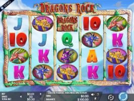 Spin online slot game Dragons Rock