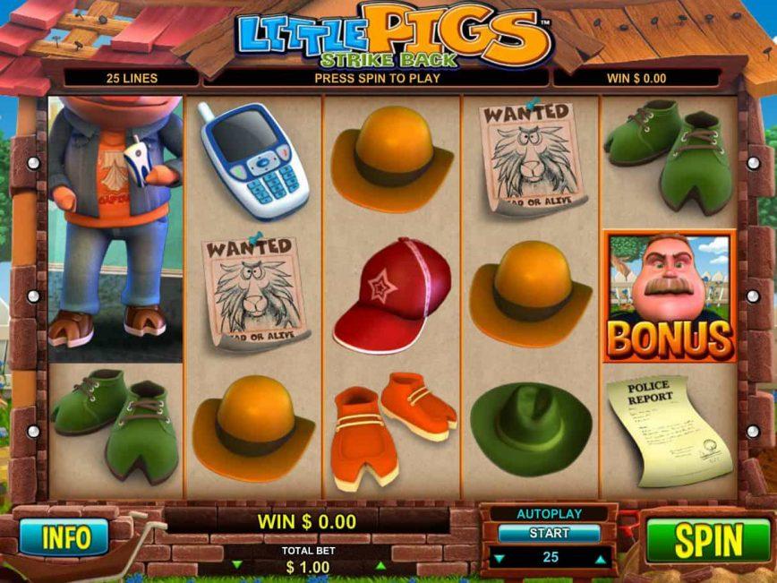 Spin online casino game Little Pigs Strike Back