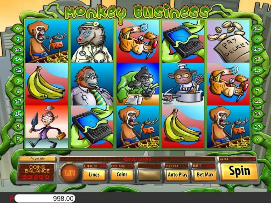 Casino slot machine Monkey Business for fun