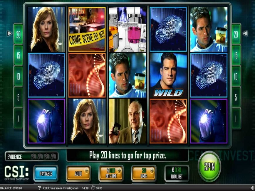 A picture of the free slot game CSI
