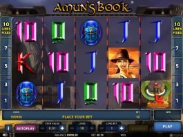A picture of the casino slot game Amun's Book