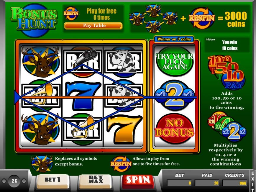 Spin slot machine for fun Bonus Hunt