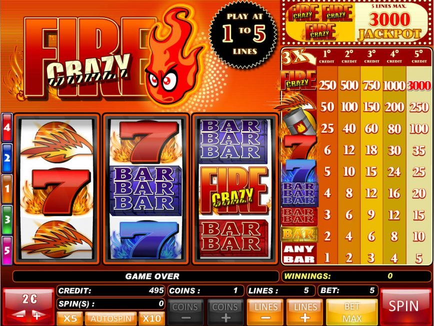 A picture of the slot machine Crazy Fire