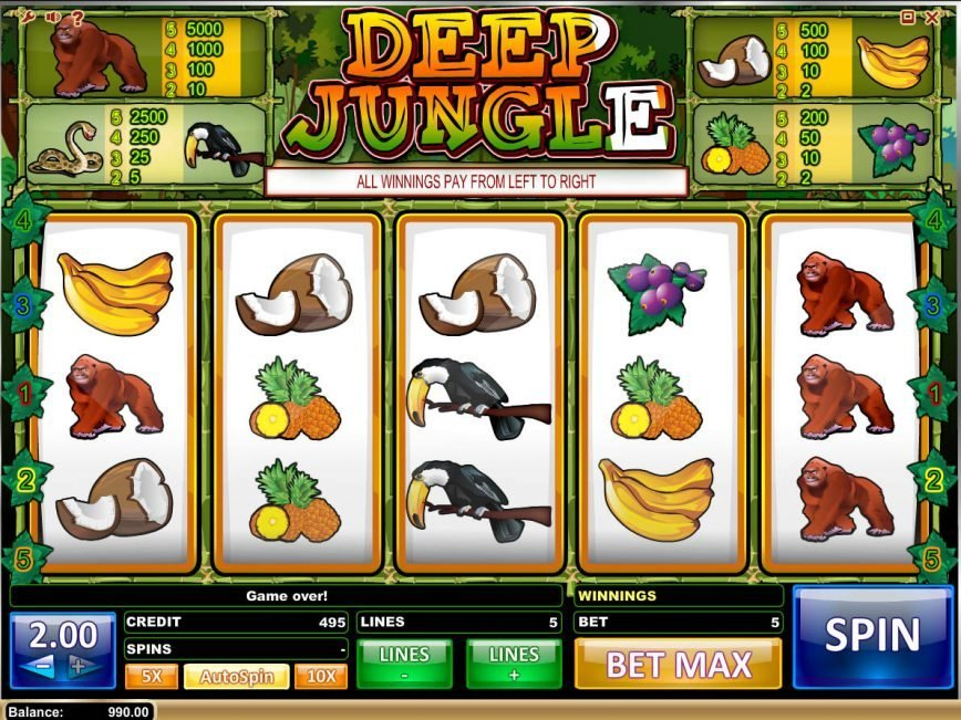 Spin slot game Deep Jungle for fun