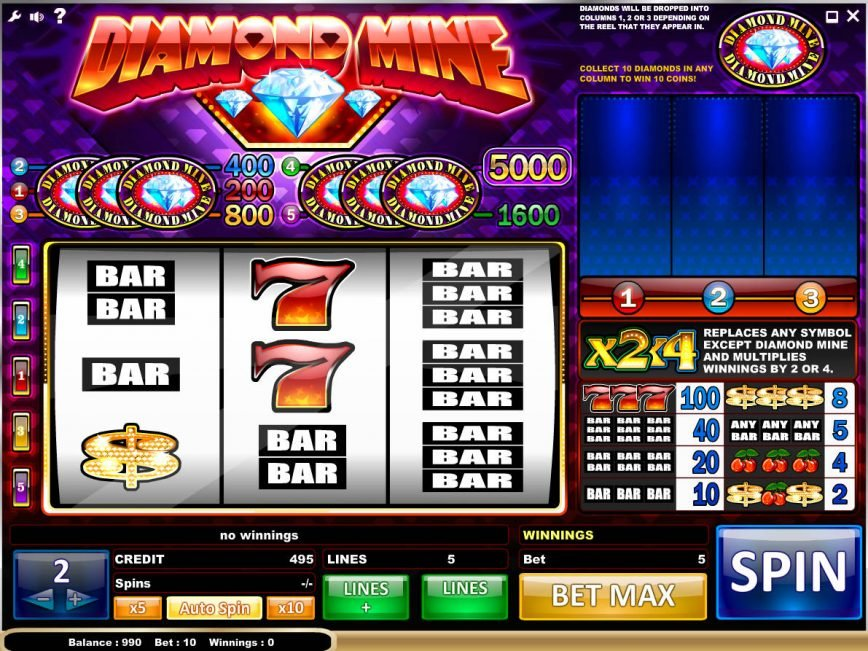 Diamond Mine casino slot game for fun