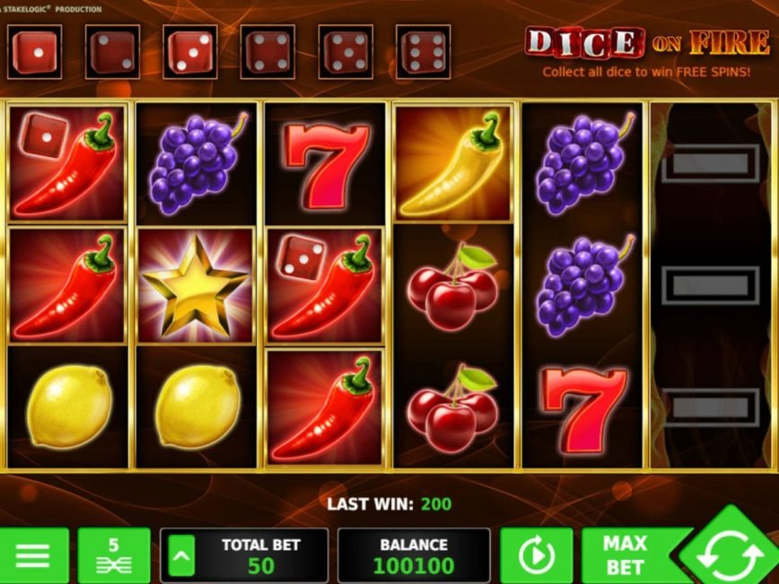 Slot machine Dice on Fire no registration