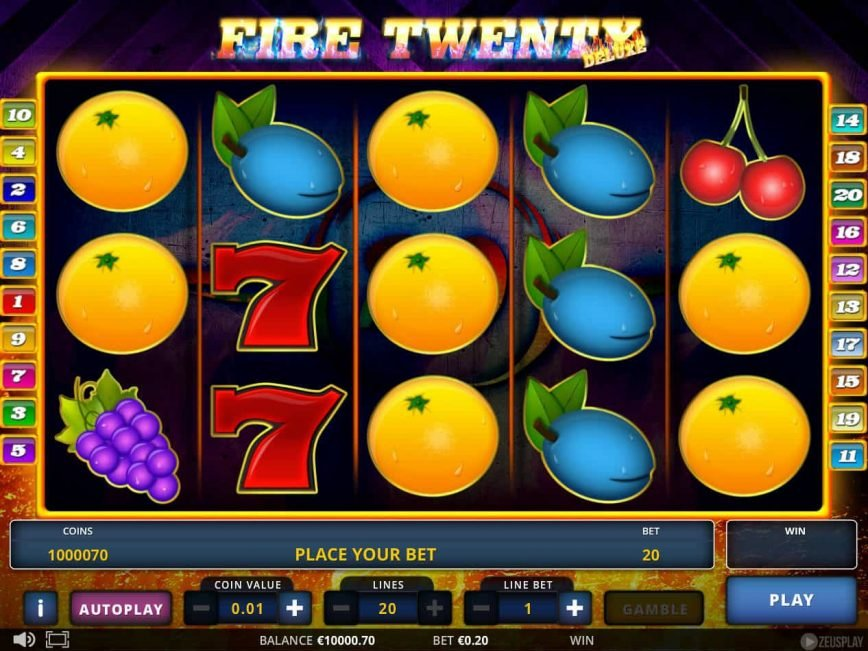 A picture of the online slot game Fire Twenty Deluxe