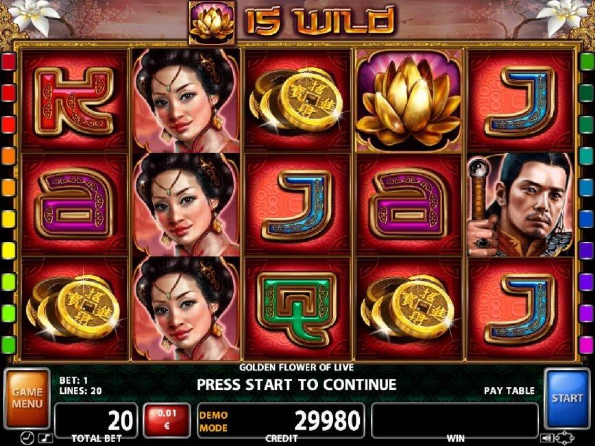 Play free casino slot Golden Flower of Life