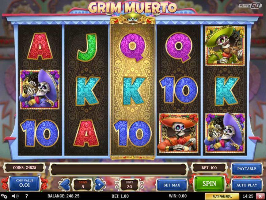Play casino slot game Grim Muerto
