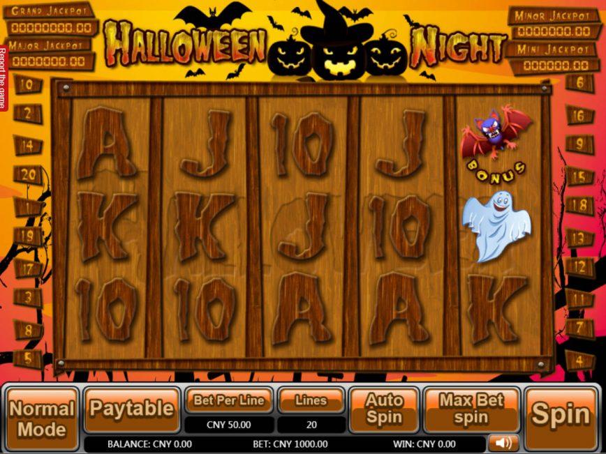 Casino slot machine Halloween Night