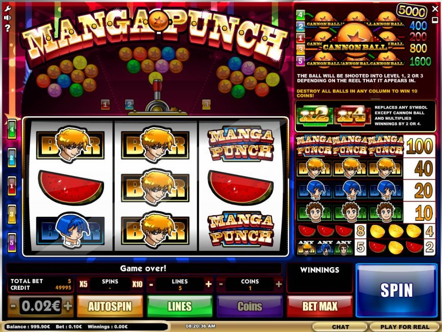 Video slot game for fun Manga Punch