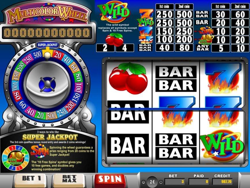 Slot game Multicolor Wheel for fun