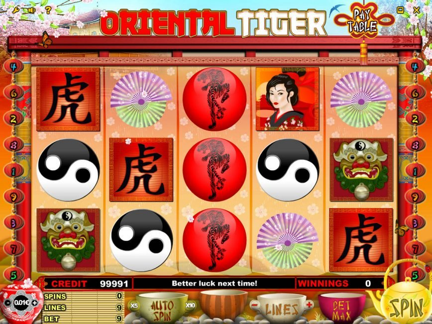 No registration slot machine Oriental Tiger