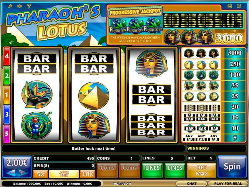 Pharaoh´s Lotus online casino game with no deposit