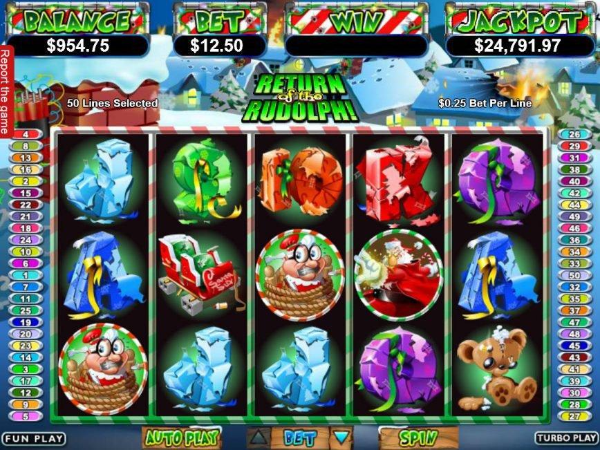 Casino slot game Return of the Rudolph online