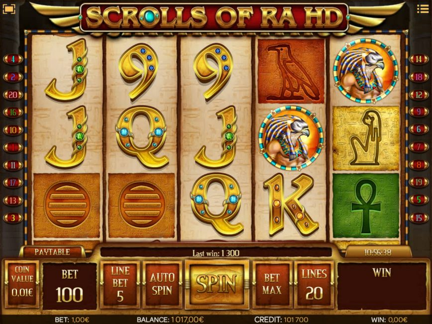 No deposit game Scrolls of Ra HD online