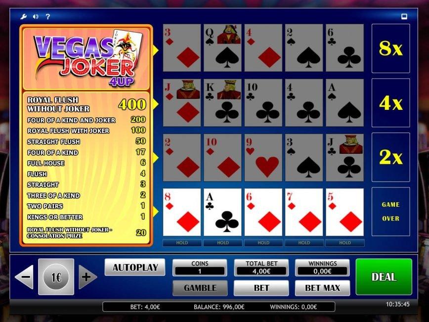 Joker Vegas 4up slot game